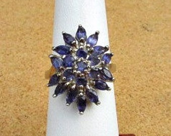 vintage 90s iolite cluster ring sterling silver 925 size 8.5  statement ring