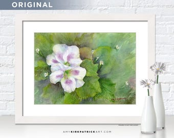 White FLOWERS Original Painting, Watercolor Flowers, Original Watercolor Painting, Original Watercolor Painting, OOAK, White Purple Flowers