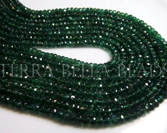 "13"" strand deep green APATITE faceted rondelle gem stone beads 4mm"