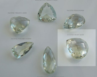 Per bead AAA GREEN AMETHYST faceted heart briolette gem stone beads 16mm