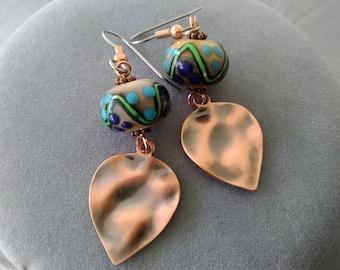 Lampwork Glass and Metal Earrings