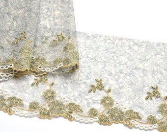 Gold Sparkly Floral Trim, BW Gold Flower Print Tulle, Tutus, Lingerie, Dolls, Lace Upcycling, Crazy Quilting, Embroidered  Lace Trim