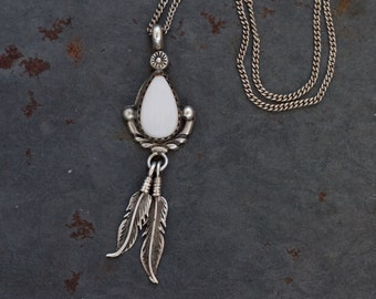 Bohemian Silver Necklace - Mother of Pearl Teardrop and Feathers - Vintage sterling Silver - Elegant Boho Jewelry