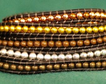 Metal Beaded Wrap Bracelet - Metal Beads Bracelet - Metal Leather Wrap - Multimetal Bracelet (B348)