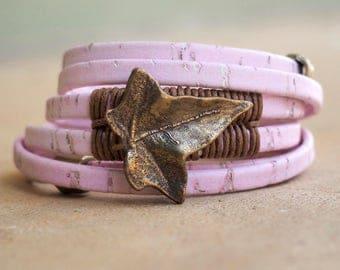 Pink Cork Leaf, Wrap Bracelet, Whirly Wrap, detailed antique brass leaf, beige linen wrapped, brass findings, brass secure magnet