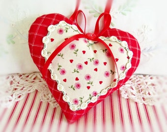 Valentine Heart Ornament 5 inch Heart Ornament Door Hanger, Red Hearts Tiny Floral, Folk Art, Handmade CharlotteStyle Decorative Folk Art