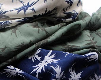 vintage 3 colors white blue chrysanthemum flower  offwhite blue green chiffon fabric by yard