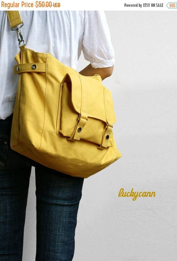 20% Easter On Sale CARSON // LemonChiffon / Line with Beige / 032 / Ship in 3 days // Messenger / Diaper bag / Shoulder bag / Tote bag / Pur