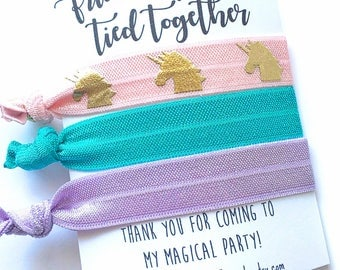 Unicorn Party Favor, Unicorn Birthday, Unicorn Birthday Party, Unicorn Hair Tie, Unicorn Bracelet, Unicorn Gift, Friends Forever