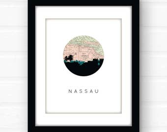 Nassau Bahamas map art | Caribbean map art | Caribbean art print | Bahamas map print | travel map decor | travel poster | island art