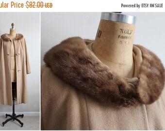 S a L E - 60s Rich's Camel Coat / Cashmere Mink Collar Coat / Fur Collar Coat /Camel Swing Coat/ 1960 Coat/  60s Winter Coat