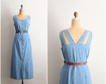 90s Denim Maxi Dress / 1990s Jean Dress / Boho Maxi Dress / Size M/L