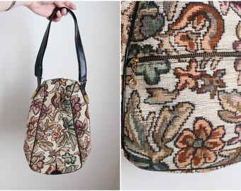 Vintage Tapestry Purse / Boho Bag / 80s Carpet Purse