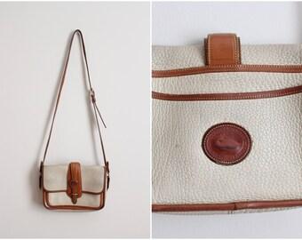 Vintage Ivory and Brown Dooney & Bourke/ Leather Purse Cross-body Bag/ Shoulder Purse