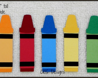 Die Cut School Crayons Set of 5 Premade Paper Piecing Embellishment for Card Making Scrapbook or Paper Crafts