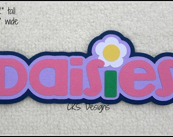 Die Cut DAISIES Girl Scouts TITLE Scrapbook Page Embellishments for Card Making Scrapbook or Paper Crafts