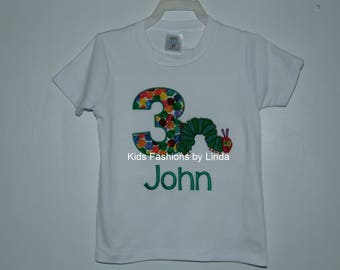 Personalized Applique Abstract Number Birthday Caterpillar Boy Short Sleeve Shirt