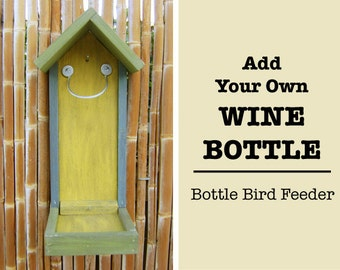 Bottle BIRD FEEDER, Rustic Hand Painted, Wood Feeder Only (Bottle NOT Included), Hand Made (bird seed not included) Ready to Ship