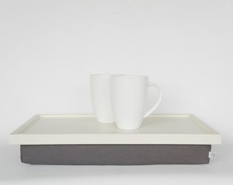 Breakfast serving tray, Laptop Lap Desk, laptop stand- off white tray with warm grey Pillow