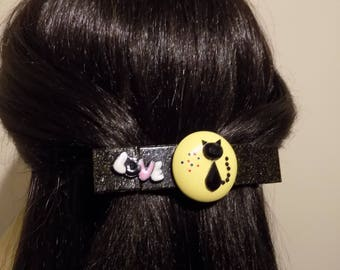 Large Barrette for Thick Hair /Cat Barrette/ Womens Gift Handmade