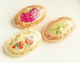 3 Vintage Cottage Chic Decorative Soap Bars Floral Gilded 1930s 1940s New Old Stock