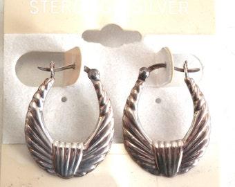 Vintage 1960's Sterling Silver Hoop Earings