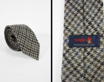 Vintage Rooster Wool Tie Grey Houndstooth Necktie Ruffler Collection