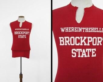 Vintage 70s SUNY Brockport Shirt State College Tank Top - Small / Medium