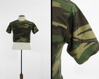Vintage Camo Half T-shirt Army Green 80s Cropped Running Shirt - Small / Medium