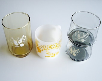 Vintage Drinking Glasses, Bowling, Mug, Gift for Bowler, Vintage Bowling, Glass Collection, Milk Glass Mug, Bowling Pins, Federal, Libbey