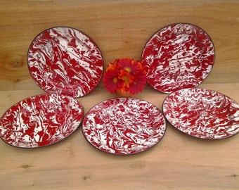 Vintage enamelware plates - red  and white plates - splatterware plates - graniteware plates - camping plates - red kitchen - glamping