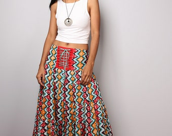 Maxi skirt, tiered skirt, high waist skirt, boho skirt, african skirt  : Boho Skirt Collection No.1