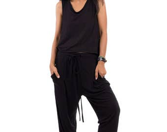 Black pants, long black trousers, lounge pants, black harem pants, black pants with pockets : Urban Chic Collection no.15