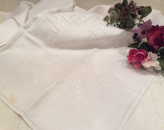 Vintage Ivory Linen Tablecloth Card Table Size Beautiful Embroidery, Vintage Linens, Vintage Embroidery