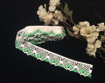 Vintage St Patricks Day White and Green Crocheted Lace, Country Lace
