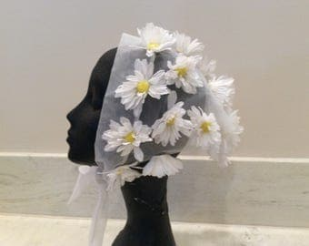 Vintage Sheer White Nylon Triangular Head Scarf with White Petals and Yellow Pompom Daisies, Vintage 1960's Daisy Scarf Head Wrap,