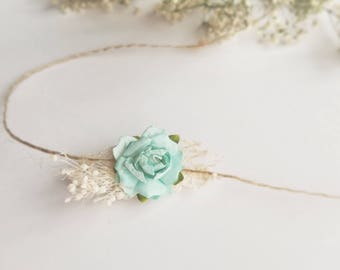 Tiny Twine Newborn Halo Tieback Headband - Baby Girl Photo Prop - Light Mint - Rustic Inspired - Shabby - Hair Wreath - Eco - Organic Props