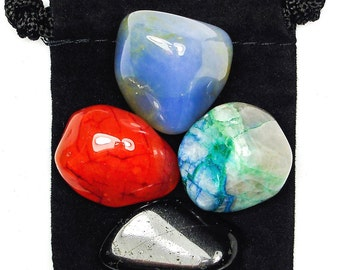 NEGATIVE THOUGHTS Tumbled Crystal Healing Set - 4 Gemstones w/Description and Pouch - Carnelian, Chalcedony, Quantum Quattro, & Tourmaline