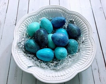 Easter Eggs Paper Mache Glitter Blue Set of 12