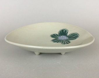 Hint of Green Oval Serving Plate with feet