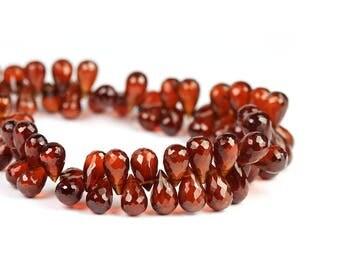Hessonite Garnet Micro Faceted Teardrop Briolettes 4 Brown Red Semi Precious Gemstone January Birthstone