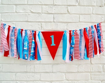 Cat in the Hat Birthday - Girl 1st birthday banner - 1st birthday banner - Birthday Banner - Girl Birthday - first birthday party - dr suess