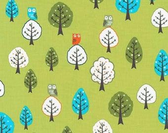 Forest Fellows 2 - Forest Trees Owls Wild Green by Sea Urchin Studio from Robert Kaufman