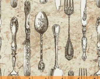 Afternoon Tea - Cutlery Cream Beige by Whistler Studios from Windham Fabrics
