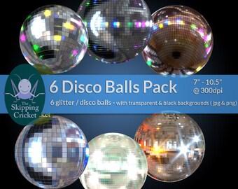 6 glitterballs or disco balls, party clip art - disco balls clipart - disco clip art - dance clipart, mirror ball INSTANT DOWNLOAD