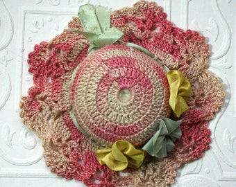 Crocheted Pin Cushion, Handmade, Hat Style, Satin Flowers, Pink