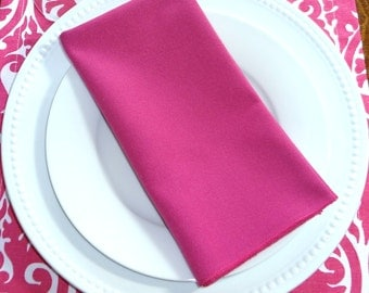SALE Candy Pink Fushia Napkin Table Decor Dining Room Size 16x16 17x17 Napkins