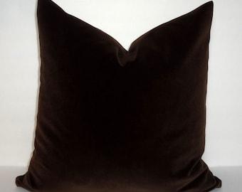Dark Brown Velvet Pillow Cover Throw Pillow Cover Decorative Velvet Pillow Cover Choose Size