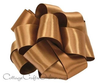 "Satin Ribbon, 1 1/2"", Brown Double Faced - THREE YARDS - Offray Reversible Double Sided Satin #9 ""Coffee"" Wedding Ribbon"