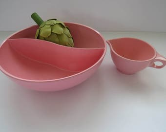 Vintage Retro 1960s Pink Melmac Bowl and Creamer by Boonton - Round Divided Vegetable Serving Dish - Plastic Dinnerware - Picnic RV